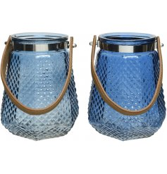 an assortment of blue toned glass lanterns, each set with its own faux leather strap