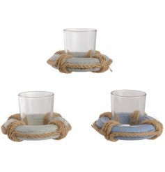 Set with their Grey, Off White and Blue tones, these charming decorative candle holders are finished with a chunky rope