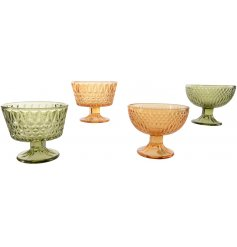 A mix of 4 vintage style glass bowls in rich orange and green colours.