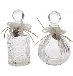 A beautifully chic assortment of decorative glass perfume bottles
