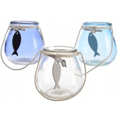Bring a touch of the Coasts to your home with this charming assortment of blue and clear toned glass pots