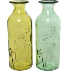 An assortment of 2 recycled glass vases in fresh Spring colours, with a pretty floral engraving.