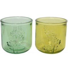 An assortment of 2 pretty recycled glass vases with an intricate floral design.