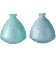 An assortment of 2 beautiful blue vases made from recycled glass. Each has a frosted finish bringing texture and style