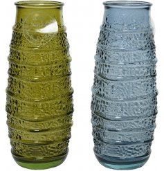 An assortment of 2 unique glass vases with a wave pattern and textured surface.