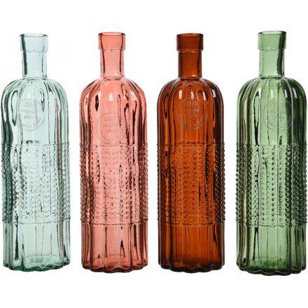 Textured Glass Bottles 4a 24cm 41761 Interior Decor