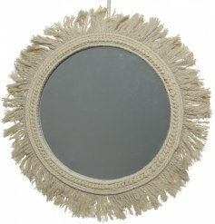 Stay on trend with this stylish round mirror with a cotton macrame frame.