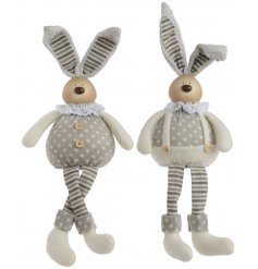 A mix of 2 charming bunny shelf sitters in boy and girl designs.