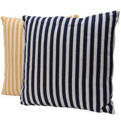 A mix of two contemporary striped cushions in navy and yellow nautical colours.