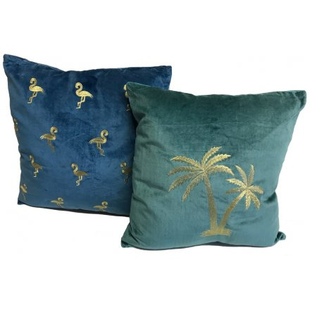 Bring a stylish statement look to your home interior with this assortment of velvet cushions in blue and green tones