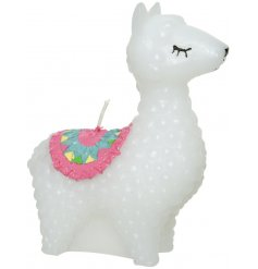 A fun and unique alpaca shaped candle.