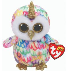 A colourfully cute uni-owl TY soft toy, part of the wonderful Beanie Boo range
