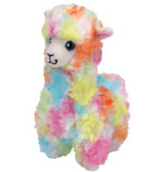 a soft and cuddly alpaca beanie baby with a colourful fur finish
