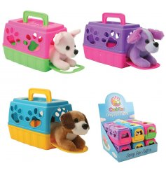 An adorable assortment of little puppies safely tucked inside their colourful carry cases!