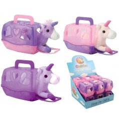 A sweet and cuddly assortment of soft toy unicorns, each placed in their own sparkly carry case!