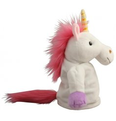 A fun little Unicorn puppet covered with crazy pink hair and a golden horn!