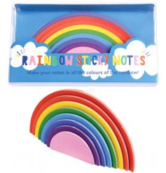 Keep your memos and reminders bright and colourful with this fun pack of Rainbow shaped sticky notes!
