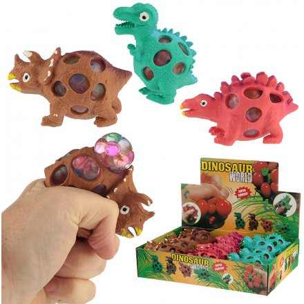 A box of fun squishy dinosaur mesh balls