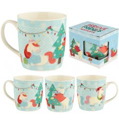A China Mug decorated with a fabulous holiday unicorn decal