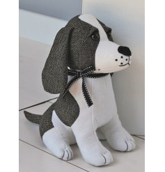 A charming little Doggy Doorstop decorated with Tweed Patches and a little tied bow