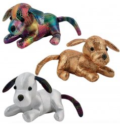 An assortment of 3 metallic toned dog toys from the fun 'Sandimal' range