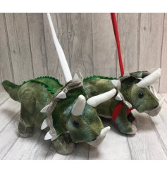 A fun and friendly assortment of little Tricerarops soft toys, complete with a harness and lead!