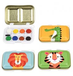 Get creative with this miniature paint tin set with brush. The assortment includes 3 colourful creatures designs