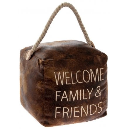 Embroidered Faux Leather Doorstop - Friends&Family 15cm