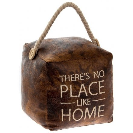 Embroidered Faux Leather Doorstop - Place Like Home 15cm