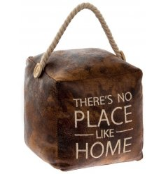 Bring a Rustic touch to any home space with this stylish Faux Leather Square Doorstop