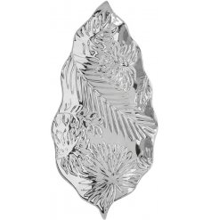 An attractive silver leaf shaped dish with palm and leaf prints.