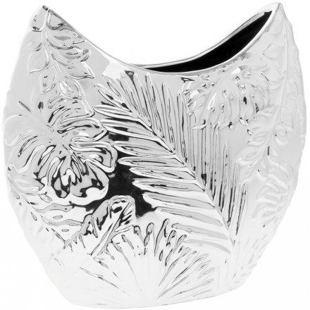 Lp42155 Silver Leaf Vase 41845 Interior Decor Ornamental
