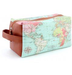 A stylish large wash bag with a world map design. A great gift item!