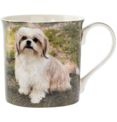 This adorable Shih Tzu themed mug displays a sweet smiling portrait of a happy pup!