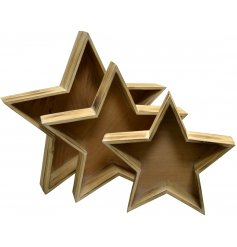 Set with a smooth natural wooden finish, this set of 3 sized star trays will be sure to tie in perfectly with any home d
