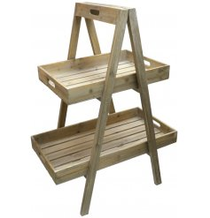 A sleek and simple natural wooden planter stand featuring a 2 tier level and A frame design