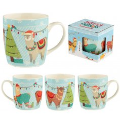 Join the party this season with this fun and festive Alpaca Mug with gift box.