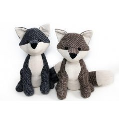 A charming assortment of fabric Fox Doorstops, set with a Navy Blue and Beige Tweed effects