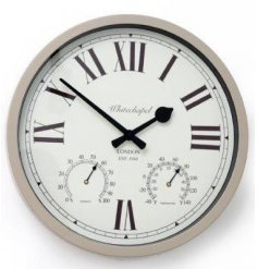 A sleek and stylish round wall clock, set with a neutral tone and vintage inspired decal