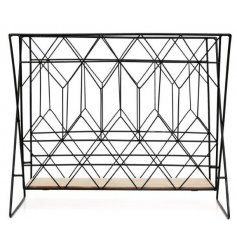 Bring a Contemporary Edge to any interior with this stylish black framed Magazine Rack