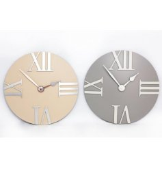 A mix of 2 contemporary wall clocks with silver roman numerals. A chic interior accessory.