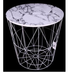 Bring a Luxe edge to any interior with this stylishly contemporary round wire side table