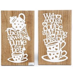 A charming assortment of wooden plaques, decorated with cut out white wording and pictures