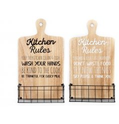 An assortment of 2 white and black slogan kitchen boards with a wire storage rack attached.