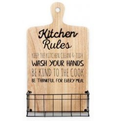 Rustic kitchen sign with a metal storage rack
