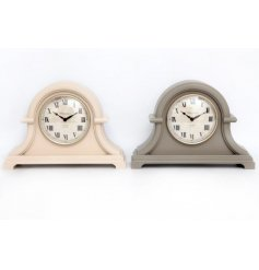An assortment of 2 chic mantel clocks in cream and grey colours.