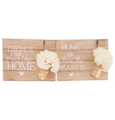Produce a beautiful homely glow to any interior with this stylish assortment of wooden plaques