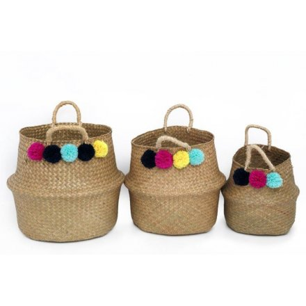 Woven Baskets with Pompom Decal