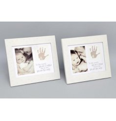 A beautiful white wooden photo frame with a lovely mother/father sentiment slogan.