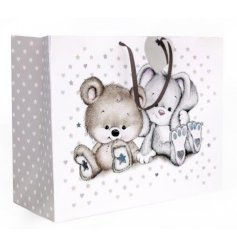 An adorable natural coloured gift bag with a sweet bunny and bear design.